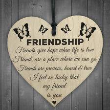 1pc Friendship Plaque Sign Best Friend Gift Shabby Chic Heart Birthday Christmas