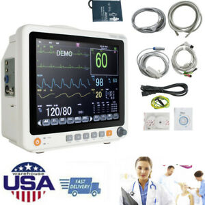 "Portable 12"" Touch Patient Monitor Vital Signs 6 Parameter ECG NIBP RESP SPO2 PR"