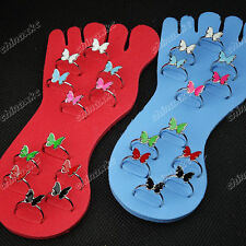 Mix Color 48pcs Wholesale jewelry Lots Enamel Butterfly Toe Rings Free shipping