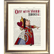 Alice in Wonderland QUEEN OF HEARTS Print on DICTIONARY BOOK PAGE Shoes Quote
