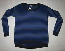 NWT!! GAP Royal Blue w/ Black Stripes Crewneck Hi-Lo Hem Sweater Men's Size S