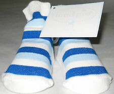 *NEW* Pair Of MUD PIE BABY Blue Striped Socks For Baby Boy 0-12 Months