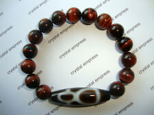 FENG SHUI - GOD OF WEALTH DZI WITH 10MM RED TIGER EYE