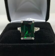 BEAUTIFUL 8ct Emerald Cut Emerald Ring Sterling Silver Size 6.5 NWT May Gift
