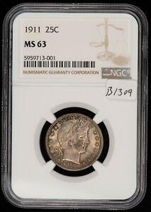 1911 25c Silver Barber Quarter - Luster and Light Toning - NGC MS 63 - SKU-B1309