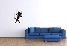 Wandtattoo lustig rutschende Katze Wandaufkleber Kinderzimmer Aufkleber