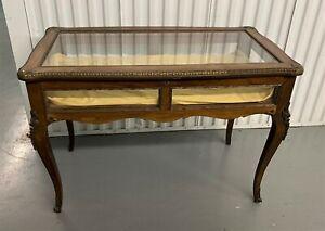 Antique French Mahogany Glass Vitrine Display Table w Gilt Bronze Details