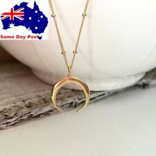 Hot Silver or Gold Horn Crescent Moon Long Link Bead Chain Necklace for Women