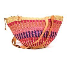 Vtg Woven Straw Beach Tote Bag Shoulder Baja Bucket Purse Pink Tan Leather Strap