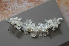 Bridal Headpiece Ivory Flower Lace Hair Comb Wedding Hair piece Fascinator