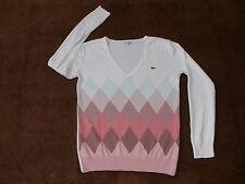 Feine Damen-Pullover mit V-Ausschnitt und Karo -/Rauten-Muster