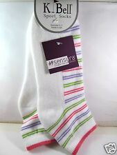 K.Bell White Stripe Comfort Heel Toe Socks Ladies Sport Blend Footie New