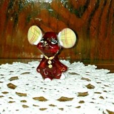 Fenton ChristmasRED  Mouse With red/gold/green neck tie and ears  5148 YE