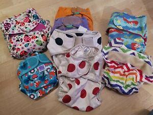 Job Lot Reusable Real Cloth Nappy Tots Bots 2 Bambino Mio Solo Pocket Disney