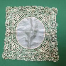 Antique Vintage Cream Silk Maltese Lace Wedding Handkerchief Hankie Heirloom