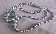 "Native Navajo Sterling Silver 60"" Oxidized NAVAJO PEARLS Beads Necklace"