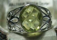 Beautiful Jewellery Sterling Silver Real Golden Topaz Gem Stone Ring Size P 7.5