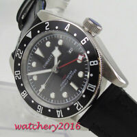 41mm CORGUET Black dial GMT SS Date Sapphire Glass automatic movement mens Watch