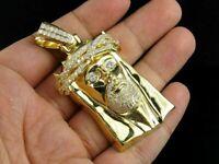 Jesus Piece Pendant Charm 0.50 Carat Round Cut Diamond 14K Yellow Gold Over