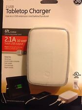 General Electric  2 USB 2.1 Amp 10 Watt Tabletop Charger w/ 6ft Power Cord