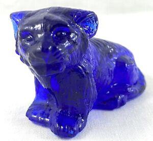 DEPRESSION COBALT BLUE GLASS BOYD TIGER FIGURINE COLLECTIBLE
