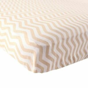 Luvable Friends Fitted Knit Crib Sheet, Tan Chevron
