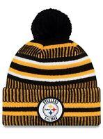 New Pittsburgh Steelers New Era NFL 100 Year Sideline On-Field Pom Knit Hat