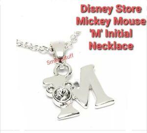 Genuine DISNEY Store Swarovski Crystal MICKEY MOUSE M INITIAL NECKLACE, Gift Box