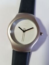 Rare BODUM Stainless Steel Round Watch Black Silicone Band Works New Battery