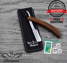 Professional `Wood Barber Hair Shaving Razor Straight Blade Folding Knife CE