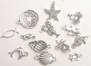 65PCS Antiqued Silver Metal Bali Sea Animal Charms for Jewelry Making