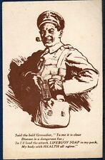 Postcard ~ LIFEBUOY SOAP Carried by BRITISH SOLDIER Grenadier ~ WWI