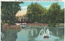Greenfield Lake and Park  Lake Fountain &  Bridge Wilmington NC   Postcard 10204