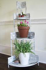 Shabby Chic Metal White Ornate Corner Shelf Plant Stand Display