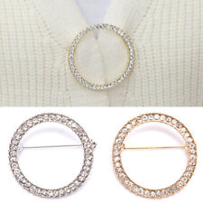 Women Simple Circle Crystal Clip Holder Brooches Pins Jewelry AccessoriesGiftSQA