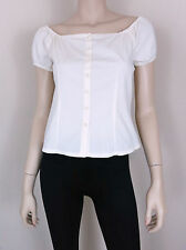 1881 NINO CERRUTI JEANS Peasant Crop Top Button Front Casual 100% Cotton Ivory M