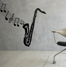 Music Wall Decal Saxophone Vinyl Sticker Music Notes Interior Art Decor (25mu)