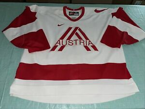 Adult 58 Nike Authentic Austria Team Hockey Jersey White Mic Fight Strap Clean