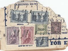 Stamps Australia 1 pound pair, 10/- & 5/- robes uprated on parcel piece, scarce