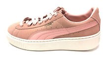 New PUMA Coral Suede Whisper White Rubber Platform Core Basket Sneakers Sz38/7.5