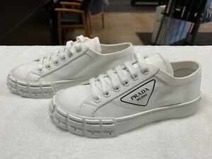 PRADA White Gabardine Fabric Logo Sneakers Shoes (Size 7.5)