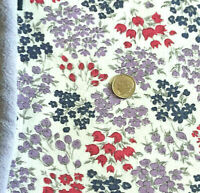 """Vintage Partial Feed Sack Small Tulips Flowers in Red, Lilac &  Navy 21"""" x 18"""""""