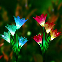 2 Pcs Lily Flower Solar Powered Garden Stake Light Multi-color Change LED Light