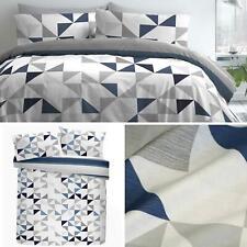 Blue Duvet Covers Geometric Stripe Reversible Print Quilt Cover Bedding Sets