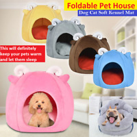 Foldable Pet House Bed Dog Cat Soft Kennel Mat Pad Warm Puppy Cushion Basket