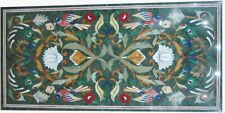 "18""x36"" Marble Dining Table Top Floral Inlay Pietra dura Handmade Work"