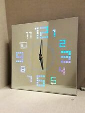 Stunning Mirrored Glass Square Wall Clock with LED Colour Change Numbers