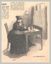 """Metzger-Schlachter """"Die Fleischbeschauerin"""" Original Holzstich von 1898"""