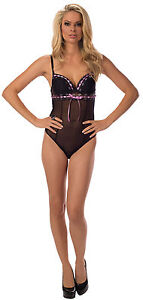 Beautiful Theory of Attractions Teddy. Black/Lilac. Escante Lingerie S,M