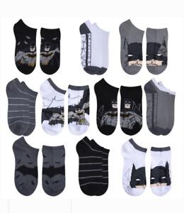 Boys Batman Socks Lot of 10 NWT Shoe Size 7-10 or 10-4 No-Show Black Gray